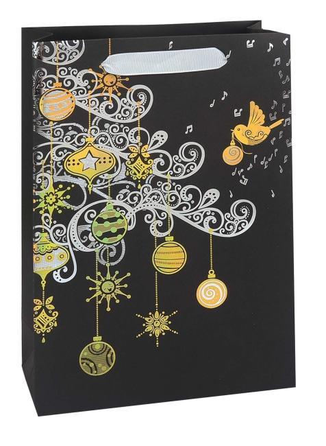 Taška vánoční dárková, černá, potisk,  22,5 x 33,5 x 10cm