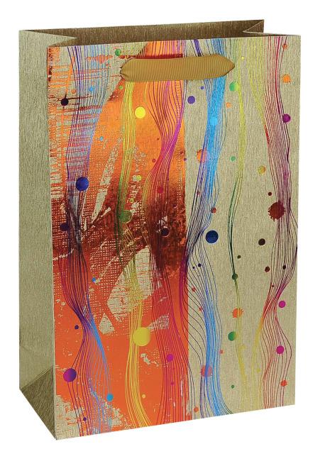 Taška dárková, zlatý potisk, 18 x 23 x 9cm
