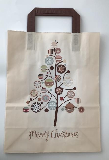 Bílá taška  Merry Christmas 32x14x42 s potiskem pluchá ucha