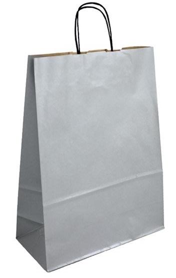 Papírová taška stříbrná 24x11x31 kroucené ucho vroubkovaný vzhled Toptwist