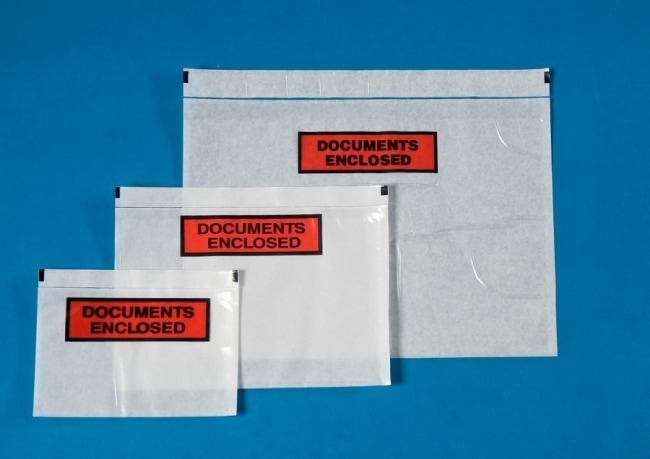 Nalepovací obálka C6 s potiskem Documents enclosed , 175 x 110 + 15