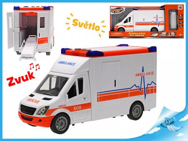 Auto ambulance 27cm plast na setrvačník na baterie se světlem a zvukem