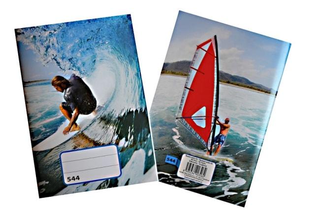 sešit 544, A5, 40 listů, linkovaný 8 mm, motiv windsurfing