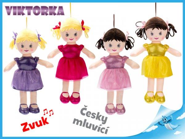 Mikro Trading panenka Viktorka hadrová 32cm česky mluvící na baterie 4barvy 0m+