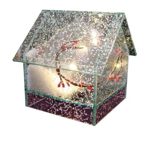 Skleněný domeček sa osvětlením a umělým sněhem.Velikost 14x14x14,5cm.