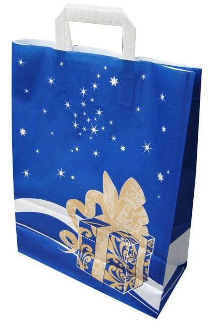 Papírová taška 32x14x42cm, modrá Weihnachtsgeschenk