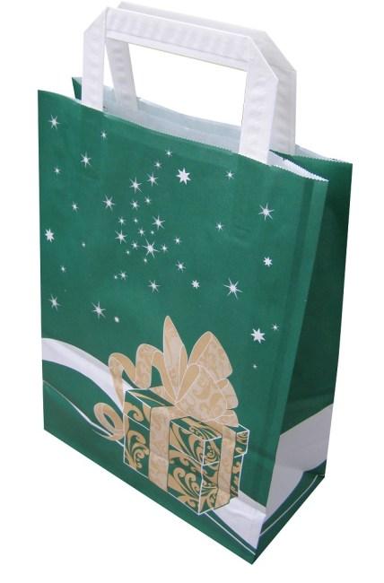 Papírová taška 20x10x28cm, zelená Weihnachtsgeschenk