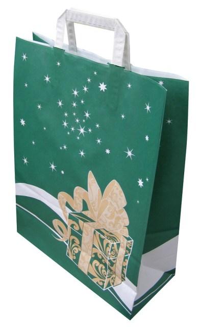 Papírová taška 32x14x42cm, zelená Weihnachtsgeschenk