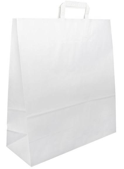 Papírová taška bílá 45x17x48 s plochým uchem Topcraft
