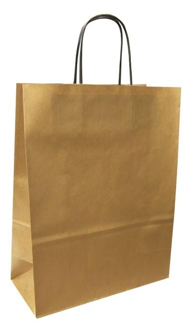 Papírová taška zlatá 32x14x42 kroucené ucho vroubkovaný vzhled Toptwist