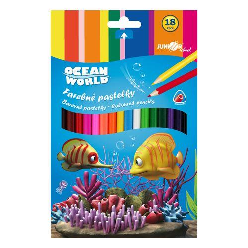 Pastelky Ocean World trojhranné 18ks