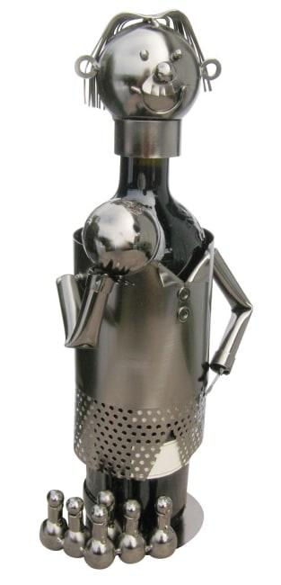 Kovový stojan na víno, motiv kuželkář