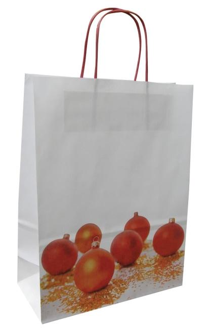 Bílá taška Christmas Balls  32x14x42cm s potiskem, červená kroucená ucha