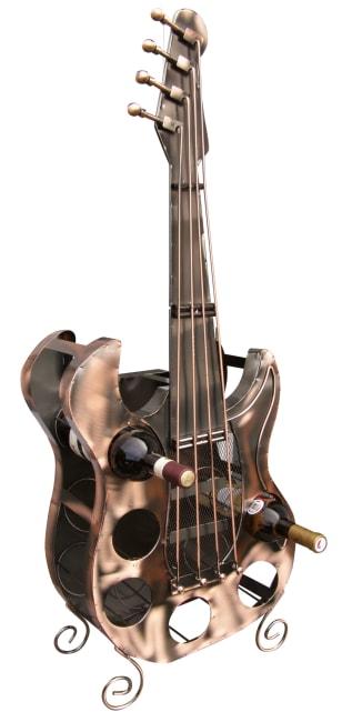 Kovový stojan na víno, motiv kytara - vinotéka na 6 lahví